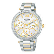 Pulsar® Womens Two-Tone Crystal-Accent Boyfriend Watch