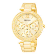 Pulsar® Womens Gold-Tone Crystal-Accent Boyfriend Watch PP6106