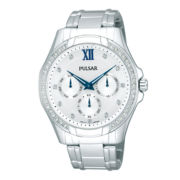Pulsar® Womens Silver-Tone Crystal-Accent Bracelet Watch