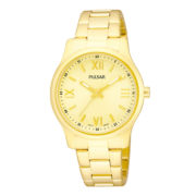 Pulsar® Womens Gold-Tone Champagne Dial Bracelet Watch PH8062