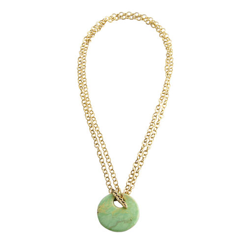 Art Smith by BARSE Color-Treated Green Magnesite Disc Pendant Necklace