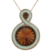 14K Rose Gold Over Sterling Silver Crystal Pendant Necklace