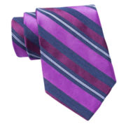 Claiborne® Textured Stripe Silk Tie