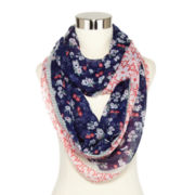 Navy Floral Border Scarf