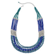 Mixit™ Silver-Tone Blue and Teal Seed Bead Collar Necklace