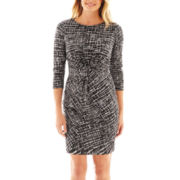 Como Black 3/4-Sleeve Twist Ruched Dress