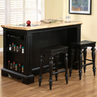 jcpenney.com | Pennington 3-pc. Kitchen Island Set including Barstools
