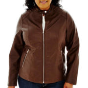 a.n.a® Faux-Leather Scuba Jacket - Plus
