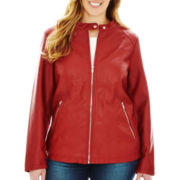 a.n.a® Faux-Leather Scuba Jacket - Plus