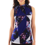 Worthington® Sleeveless Ruched-Neck Top - Petite
