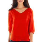 by&by 3/4-Sleeve Lattice-Back Top