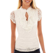 Heart & Soul® Short-Sleeve Lace Ruffle Top