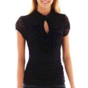 Heart & Soul® Short-Sleeve Lace Ruffle Top
