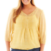 St. John's Bay® 3/4-Sleeve Chiffon Peasant Top - Plus