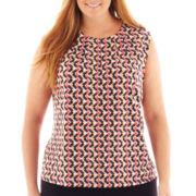 Liz Claiborne® Sleeveless Split-Neck Keyhole Top - Plus