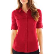 St. John's Bay® Roll-Sleeve Campshirt - Tall