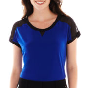 Worthington® Sheer-Shoulder Athletic Tee - Tall