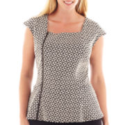 Worthington® Asymmetrical Zip-Front Peplum Top - Plus