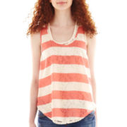 Hollywould Sleeveless Striped Lace-Back Top