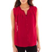 Olsenboye® Sleeveless Button-Front Blouse