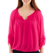Arizona 3/4-Sleeve Peasant Top - Plus