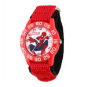 Marvel® Spider-Man® Kids Time Teacher Red Nylon Strap Watch