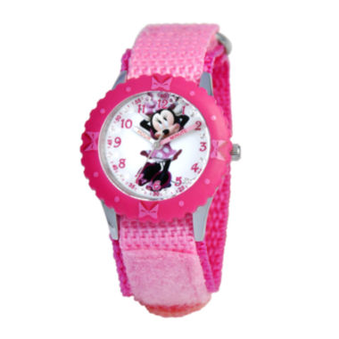 jcpenney.com | Disney Minnie Mouse Kids Time Teacher Crystal-Accent Pink Nylon Strap Watch