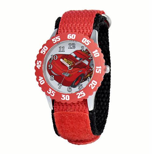 Disney Cars Kids Time Teacher Red Nylon Strap Watch