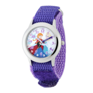 jcpenney.com | Disney Frozen Anna and Elsa Kids Time Teacher Crystal-Accent Purple Nylon Strap Watch