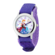 Disney Frozen Anna and Elsa Kids Time Teacher Crystal-Accent Purple Nylon Strap Watch