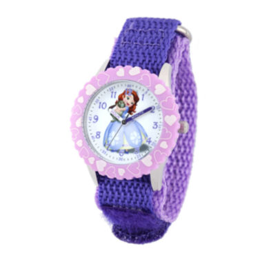 jcpenney.com | Disney Sofia Kids Time Teacher Purple Nylon Strap Watch