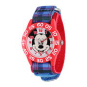 Disney Mickey Mouse Kids Time Teacher Plaid Nylon Strap Watch