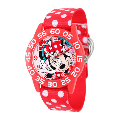 Disney Minnie Mouse Kids Time Teacher Red Nylon Polka-Dot Strap Watch