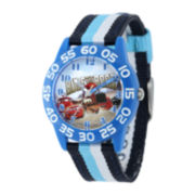 Disney Cars Kids Time Teacher Striped Nylon Strap Watch