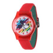 Disney Mickey Mouse Kids Red and Green Nylon Strap Watch