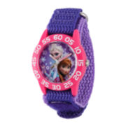 Disney Frozen Anna and Elsa Kids Time Teacher Purple Nylon Strap Watch