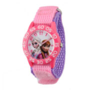 Disney Frozen Anna and Elsa Kids Time Teacher Pink and Purple Nylon Strap Watch
