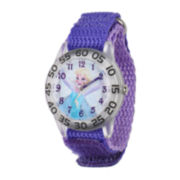 Disney Frozen Elsa Kids Time Teacher Purple Nylon Strap Watch