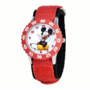 Disney Mickey Mouse Kids Time Teacher Red Nylon Strap Watch