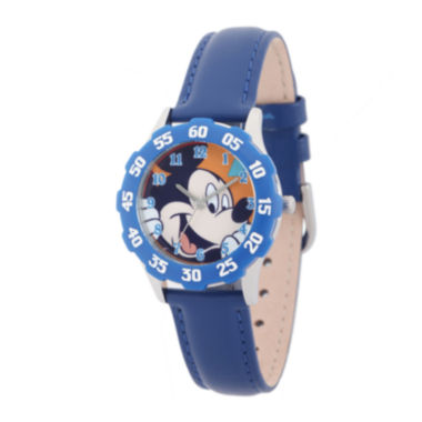 jcpenney.com | Disney Mickey Mouse Kids Time Teacher Blue Leather Strap Watch
