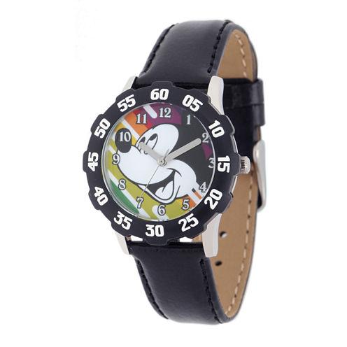 Disney Mickey Mouse Kids Teacher Time Black Leather Strap Watch