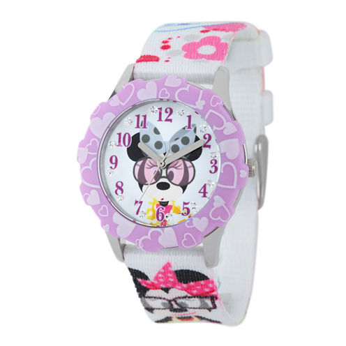 Disney Minnie Mouse Kids Crystal-Accent Print Fabric Strap Watch