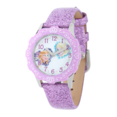 jcpenney.com | Disney Frozen Anna and Elsa Kids Crystal-Accent Purple Leather Glitter Strap Watch