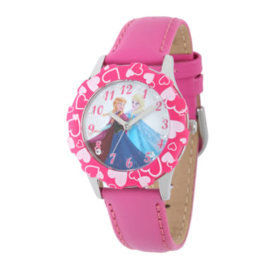jcpenney.com | Disney Frozen Anna and Elsa Kids Crystal-Accent Pink Leather Strap Watch