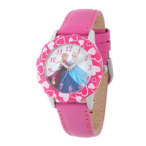 Disney Frozen Anna and Elsa Kids Crystal-Accent Pink Leather Strap Watch