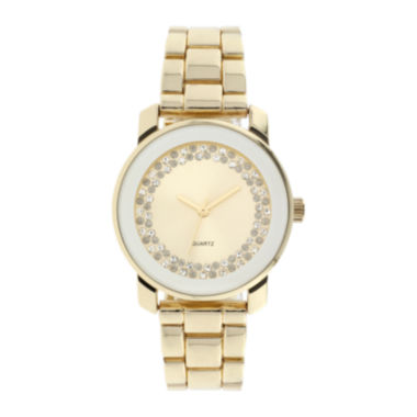 jcpenney.com | Womens Crystal-Accent Gold-Tone Bracelet Watch