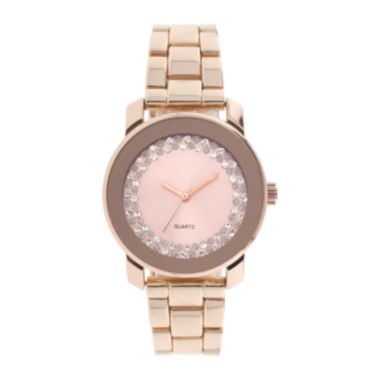 jcpenney.com | Womens Crystal-Accent Rose-Tone Bracelet Watch