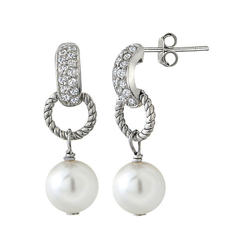 Silver Reflections™ Cubic Zirconia and Simulated Pearl Silver-Plated Drop Earrings