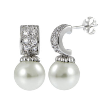 jcpenney.com | Cubic Zirconia and Simulated Pearl Silver-Plated Drop Earrings