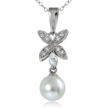 jcpenney.com | Silver Reflections™ Cubic Zirconia and Simulated Pearl Silver-Plated Flower Pendant Necklace